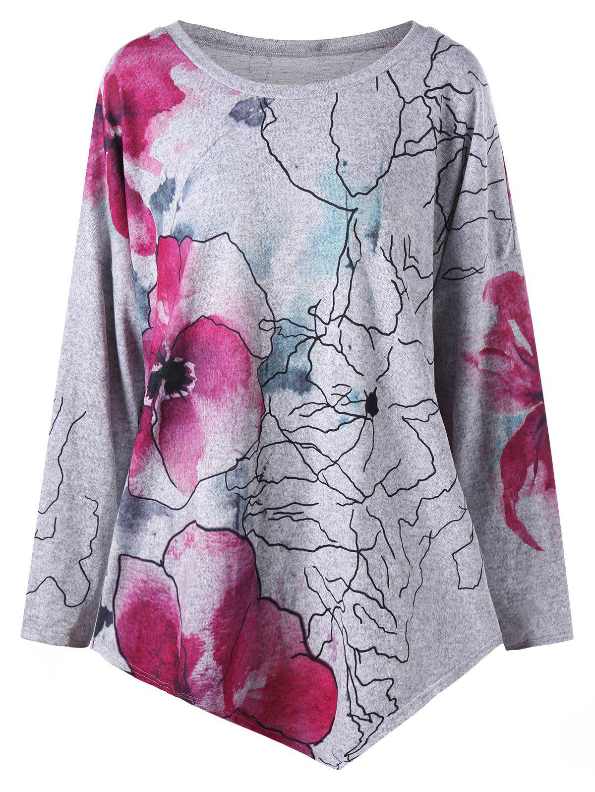 Plus Size Ink Painting Floral Drop Shoulder Asymmetric TopWOMEN<br><br>Size: 4XL; Color: GRAY; Material: Cotton,Polyester; Shirt Length: Long; Sleeve Length: Full; Collar: Round Neck; Style: Fashion; Season: Fall,Spring; Pattern Type: Floral; Weight: 0.3000kg; Package Contents: 1 x T-shirt;