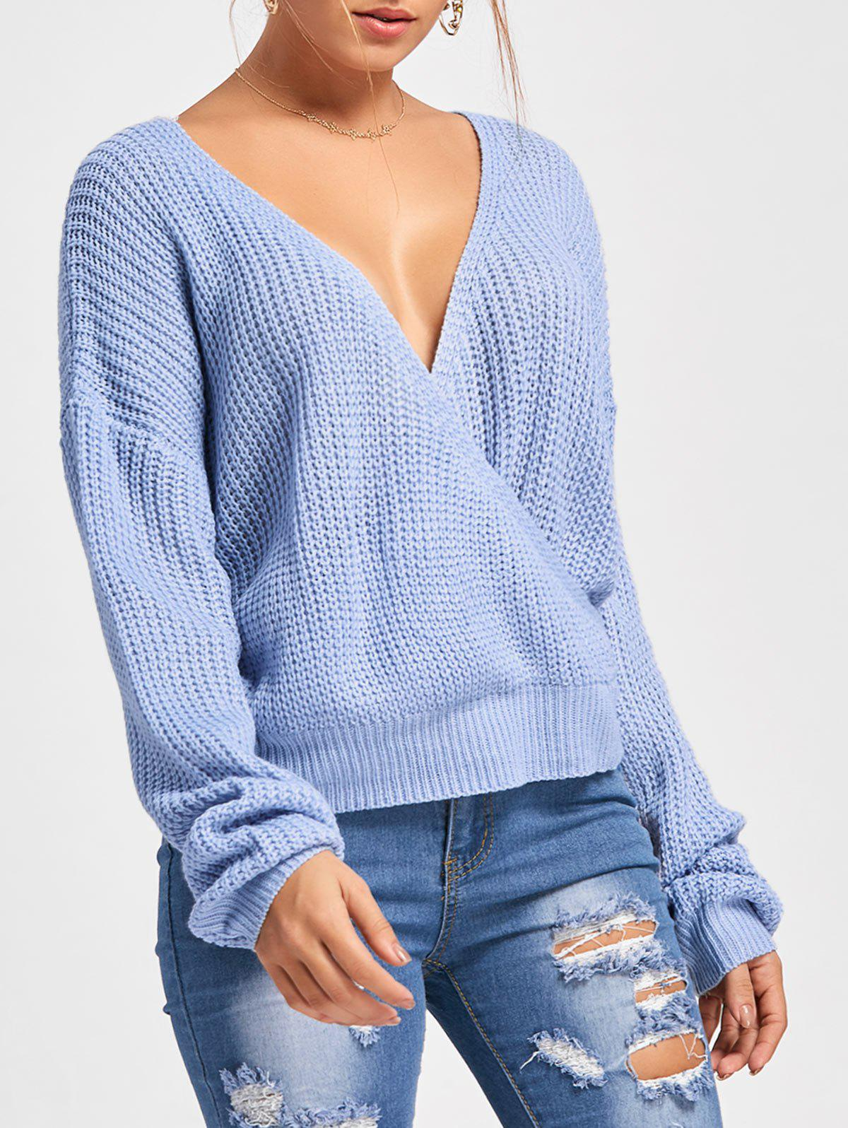 Back Cut Out Deep V Neck Oversized SweaterWOMEN<br><br>Size: M; Color: AZURE; Type: Pullovers; Material: Acrylic; Sleeve Length: Full; Collar: V-Neck; Style: Fashion; Pattern Type: Solid; Season: Fall,Spring; Weight: 0.3700kg; Package Contents: 1 x Sweater;