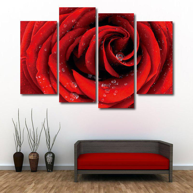 Rose Flower Print Unframed Split Canvas PaintingsHOME<br><br>Size: 30*60CM*2PCS/30*80CM*2PCS; Color: RED; Subjects: Flower; Features: Decorative; Hang In/Stick On: Bedrooms,Hotels,Living Rooms,Offices,Stair; Shape: Horizontal; Form: Five Panels,Four Panels; Frame: No; Material: Canvas; Package Contents: 1 x Canvas Paintings (Set);
