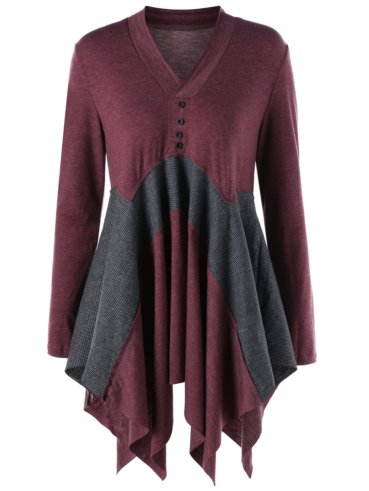 Long Asymmetric V Neck Long Sleeve TopWOMEN<br><br>Size: M; Color: GRAY AND RED; Material: Cotton Blends,Polyester,Spandex; Shirt Length: Long; Sleeve Length: Full; Collar: V-Neck; Style: Casual; Season: Fall,Spring; Pattern Type: Others; Weight: 0.3950kg; Package Contents: 1 x Top;