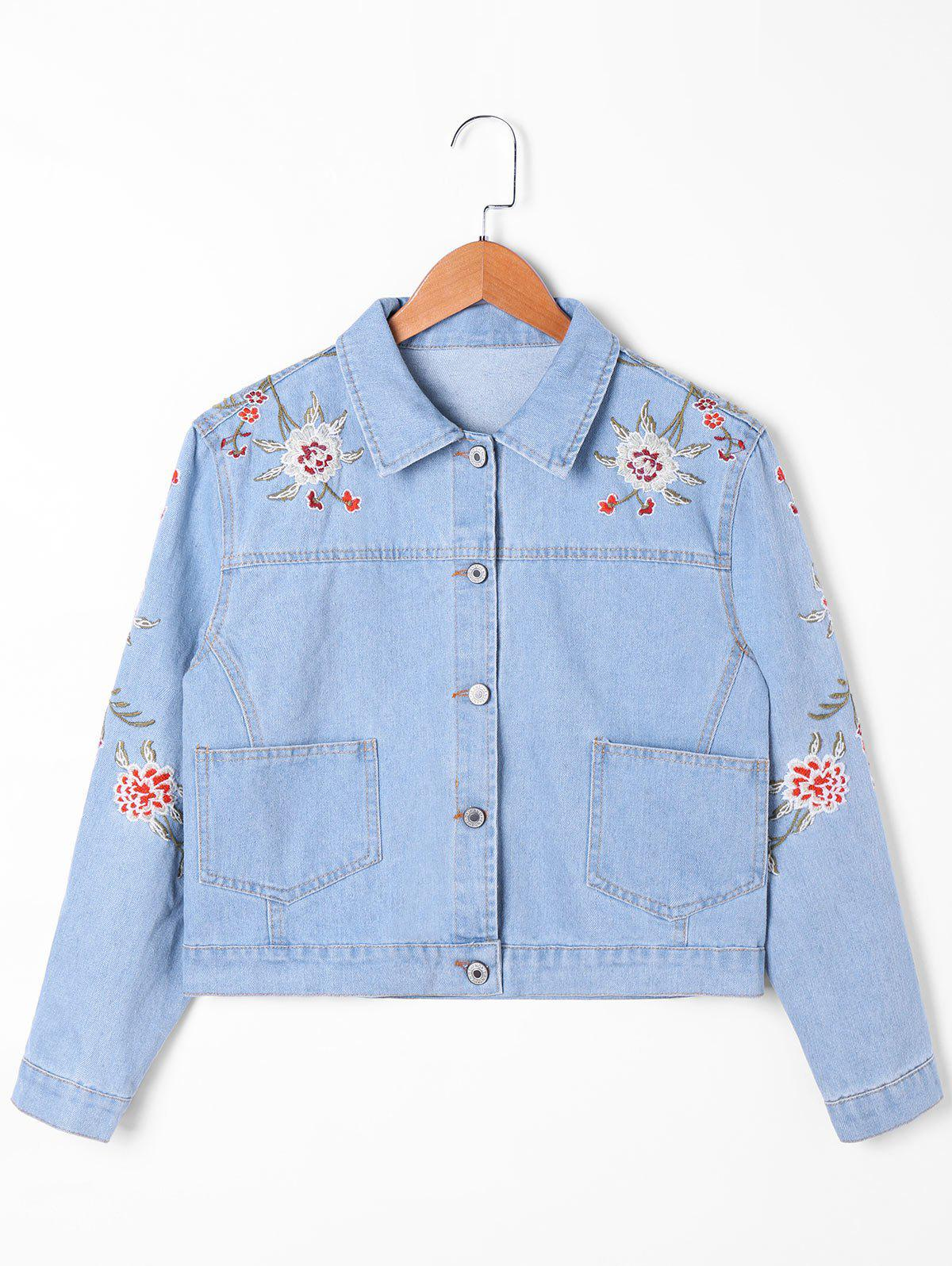 Outfits Drop Pocket Embroidery Jean Jacket