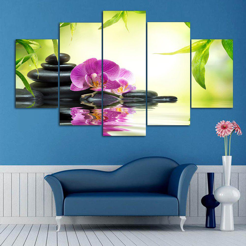 Flower Stone Split Canvas Wall Art Print PaintingsHOME<br><br>Size: 30*40CM*2PCS/30*60CM*2PCS/30*80CM*1PCS; Color: COLORMIX; Subjects: Flower; Features: Decorative; Hang In/Stick On: Bedrooms,Hotels,Living Rooms,Offices,Stair; Shape: Horizontal; Form: Five Panels,Four Panels; Frame: No; Material: Canvas; Package Contents: 1 x Canvas Paintings (Set);