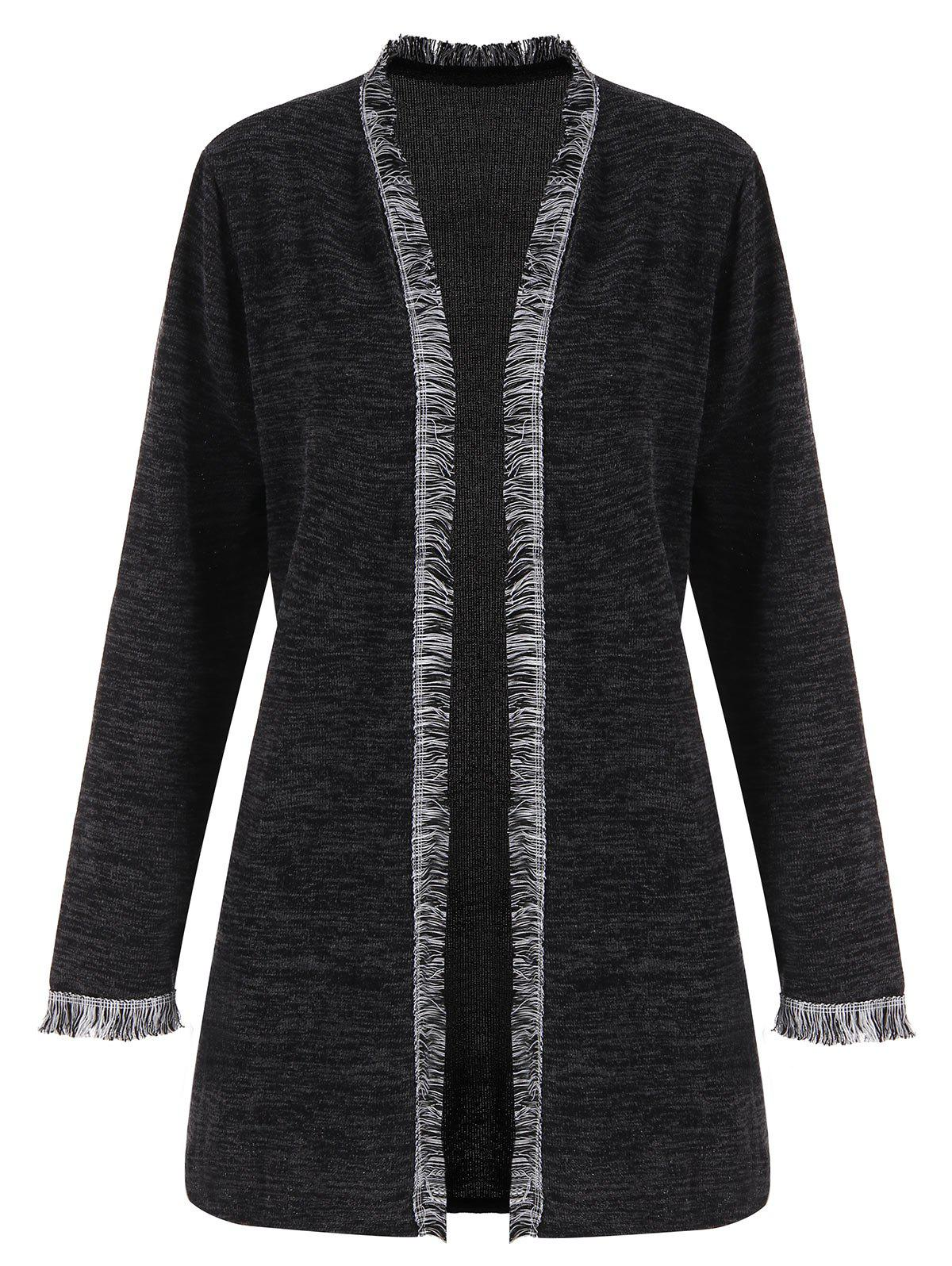 Plus Size Fringed Space Dye CardiganWOMEN<br><br>Size: 3XL; Color: DEEP GRAY; Type: Cardigans; Material: Acrylic,Polyester; Sleeve Length: Full; Collar: Collarless; Style: Casual; Season: Fall; Pattern Type: Solid; Weight: 0.3300kg; Package Contents: 1 x Cardigan;