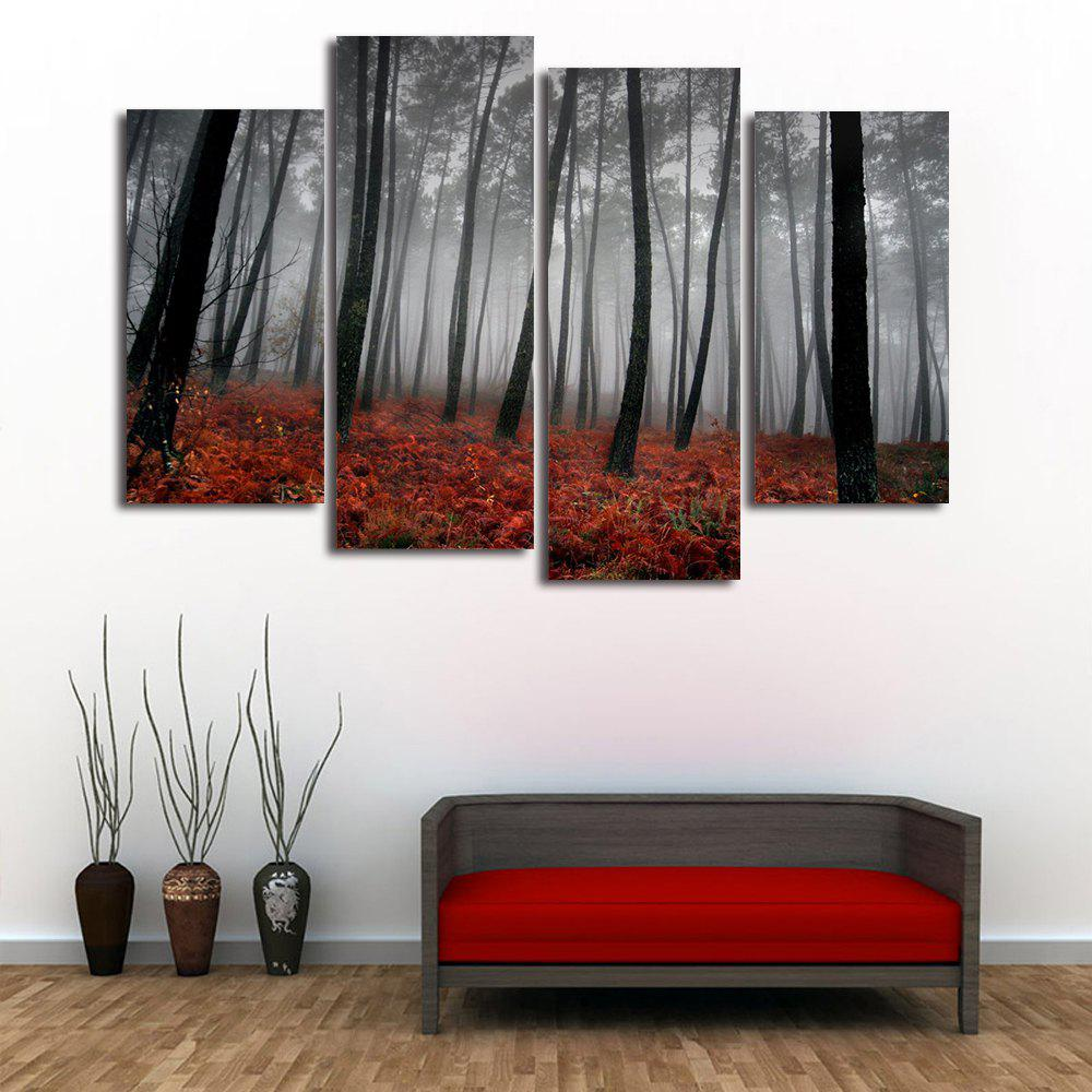 Fog Forest Print Split Canvas Wall Art Paintings