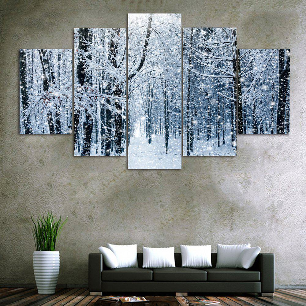 Snow Forest Print Unframed Split Canvas PaintingsHOME<br><br>Size: 30*40CM*2PCS/30*60CM*2PCS/30*80CM*1PCS; Color: GRAY; Subjects: Landscape; Features: Decorative; Hang In/Stick On: Bedrooms,Hotels,Living Rooms,Offices,Stair; Shape: Horizontal; Form: Five Panels,Four Panels; Frame: No; Material: Canvas; Package Contents: 1 x Canvas Paintings (Set);