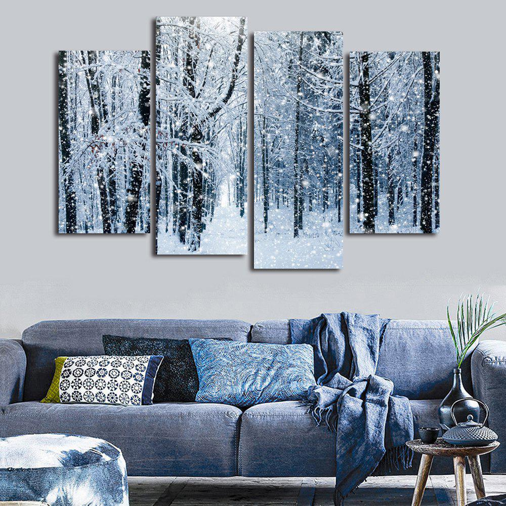 Snow Forest Print Unframed Split Canvas PaintingsHOME<br><br>Size: 30*60CM*2PCS/30*80CM*2PCS; Color: GRAY; Subjects: Landscape; Features: Decorative; Hang In/Stick On: Bedrooms,Hotels,Living Rooms,Offices,Stair; Shape: Horizontal; Form: Five Panels,Four Panels; Frame: No; Material: Canvas; Package Contents: 1 x Canvas Paintings (Set);