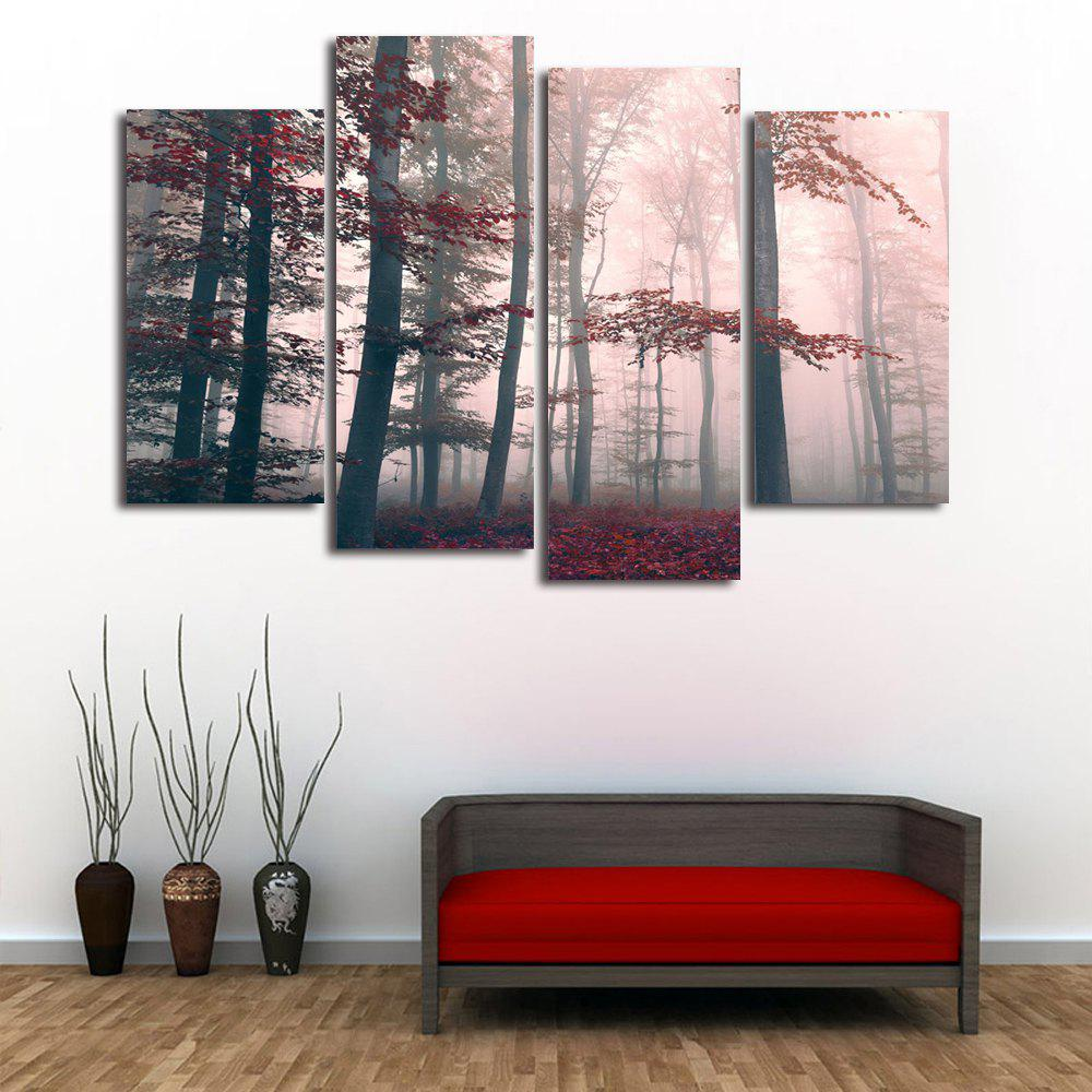 Fog Maple Forest Print Unframed Split Canvas Paintings