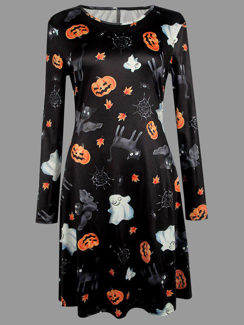 Affordable Plus Size Halloween Bat Cat Pumpkin Print Dress