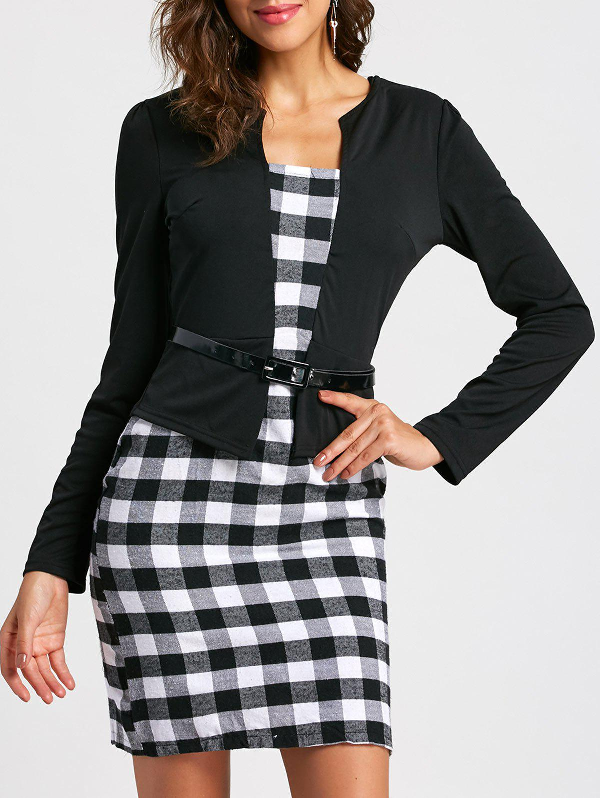 Best Stylish Round Collar Checked Print Faux Twinset With Belt Long Sleeve Women's Dress