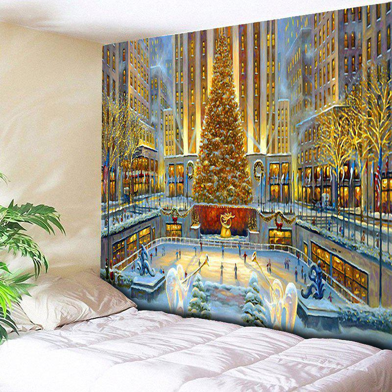 Christmas Graphic Bedroom Wall Decor TapestryHOME<br><br>Size: W59 INCH * L59 INCH; Color: COLORMIX; Style: Festival; Theme: Christmas; Material: Cotton,Polyester; Feature: Removable,Washable; Shape/Pattern: Buildings,Tree; Weight: 0.2000kg; Package Contents: 1 x Tapestry;
