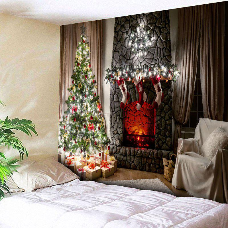 Wall Decor Christmas Fireplace Tree TapestryHOME<br><br>Size: W79 INCH * L71 INCH; Color: COLORMIX; Style: Festival; Theme: Christmas; Material: Nylon,Polyester; Feature: Removable,Washable; Shape/Pattern: Tree; Weight: 0.3000kg; Package Contents: 1 x Tapestry;
