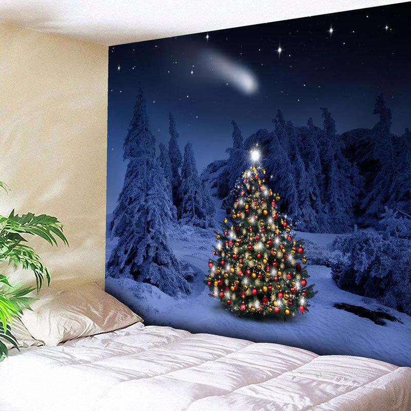 Snow Night Christmas Tree Wall TapestryHOME<br><br>Size: W71 INCH * L71 INCH; Color: VIOLET BLUE; Style: Festival; Theme: Christmas; Material: Nylon,Polyester; Feature: Removable,Washable; Shape/Pattern: Snow,Tree; Weight: 0.2950kg; Package Contents: 1 x Tapestry;