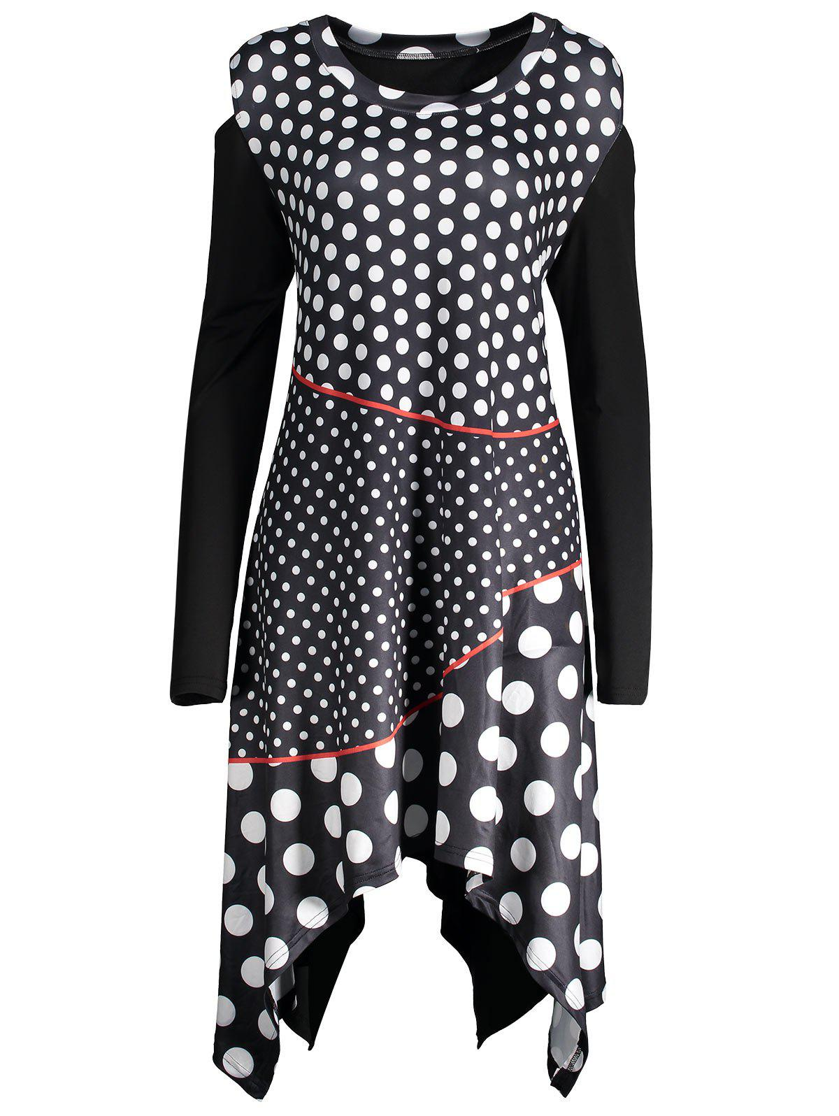 Polka Dot Plus Size Cold Shoulder DressWOMEN<br><br>Size: 5XL; Color: BLACK; Style: Cute; Material: Polyester,Spandex; Silhouette: Asymmetrical; Dresses Length: Knee-Length; Neckline: Round Collar; Sleeve Length: Long Sleeves; Pattern Type: Polka Dot; With Belt: No; Season: Fall,Spring; Weight: 0.4200kg; Package Contents: 1 x Dress;