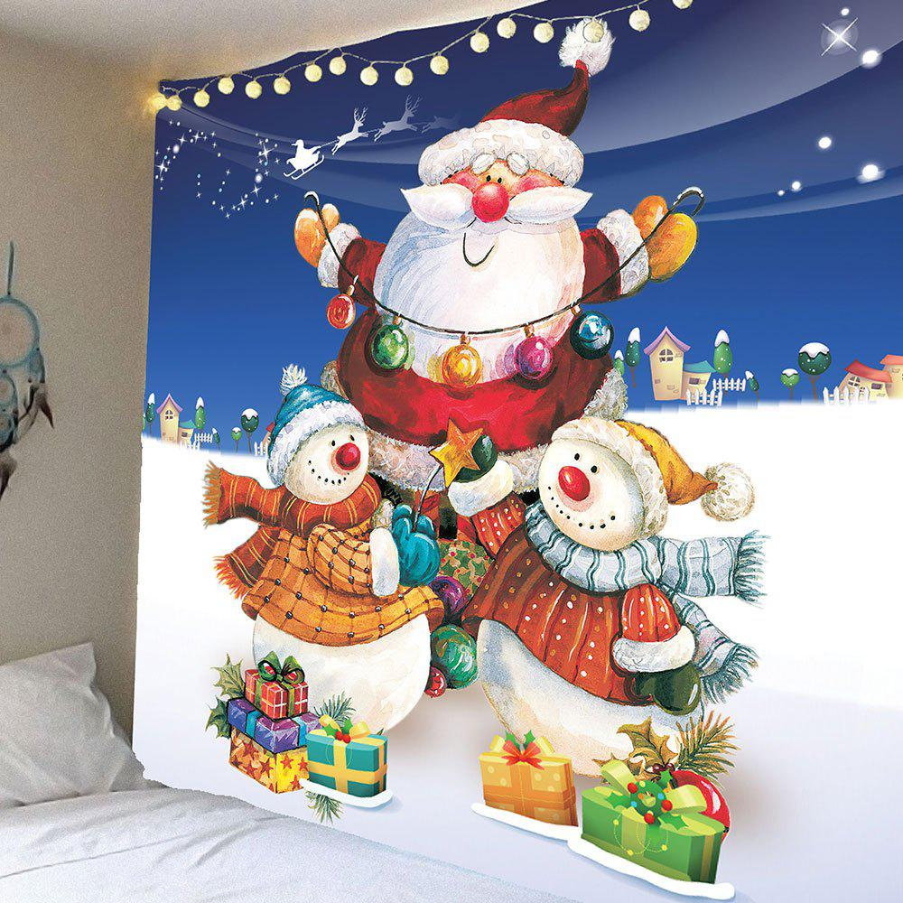 New Christmas Snowman and Santa Claus Pattern Waterproof Wall Art Tapestry