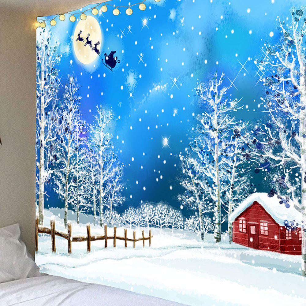 Snows and Trees Pattern Waterproof Christmas Wall Art TapestryHOME<br><br>Size: W79 INCH * L71 INCH; Color: COLORFUL; Style: Festival; Theme: Christmas; Material: Velvet; Feature: Removable,Washable,Waterproof; Shape/Pattern: Snow; Weight: 0.3900kg; Package Contents: 1 x Tapestry;