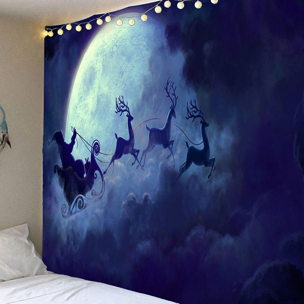 Waterproof Christmas Eve Moose Printed Wall Hanging TapestryHOME<br><br>Size: W91 INCH * L71 INCH; Color: DEEP BLUE; Style: Festival; Theme: Christmas; Material: Velvet; Feature: Removable,Washable,Waterproof; Shape/Pattern: Print; Weight: 0.4200kg; Package Contents: 1 x Tapestry;