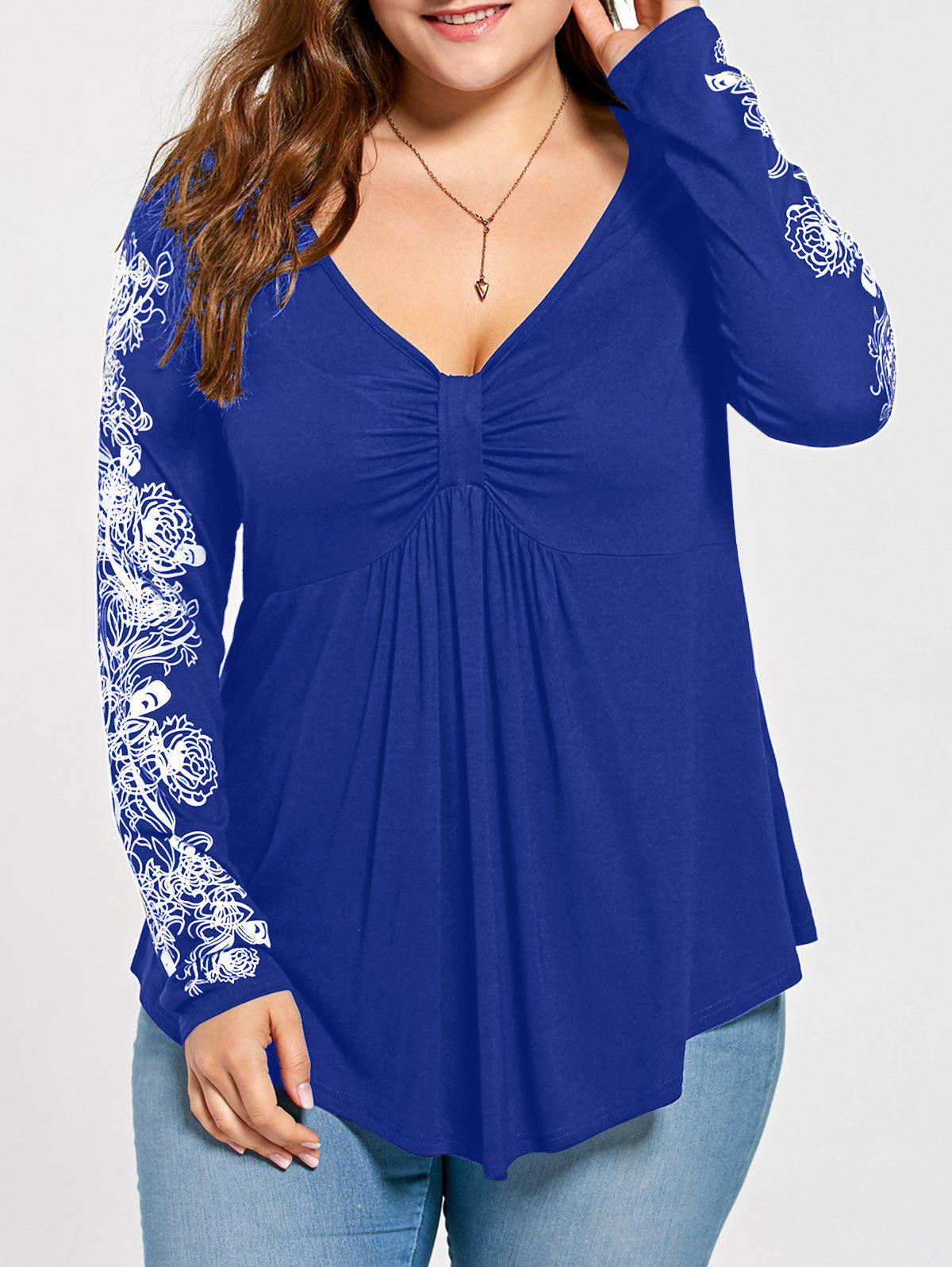 Floral Pattern Long Sleeve Plus Size Draped T-shirtWOMEN<br><br>Size: 4XL; Color: BLUE; Material: Cotton,Polyester; Shirt Length: Long; Sleeve Length: Full; Collar: V-Neck; Style: Casual; Season: Fall,Spring; Embellishment: Draped; Pattern Type: Floral; Weight: 0.3000kg; Package Contents: 1 x T-shirt;