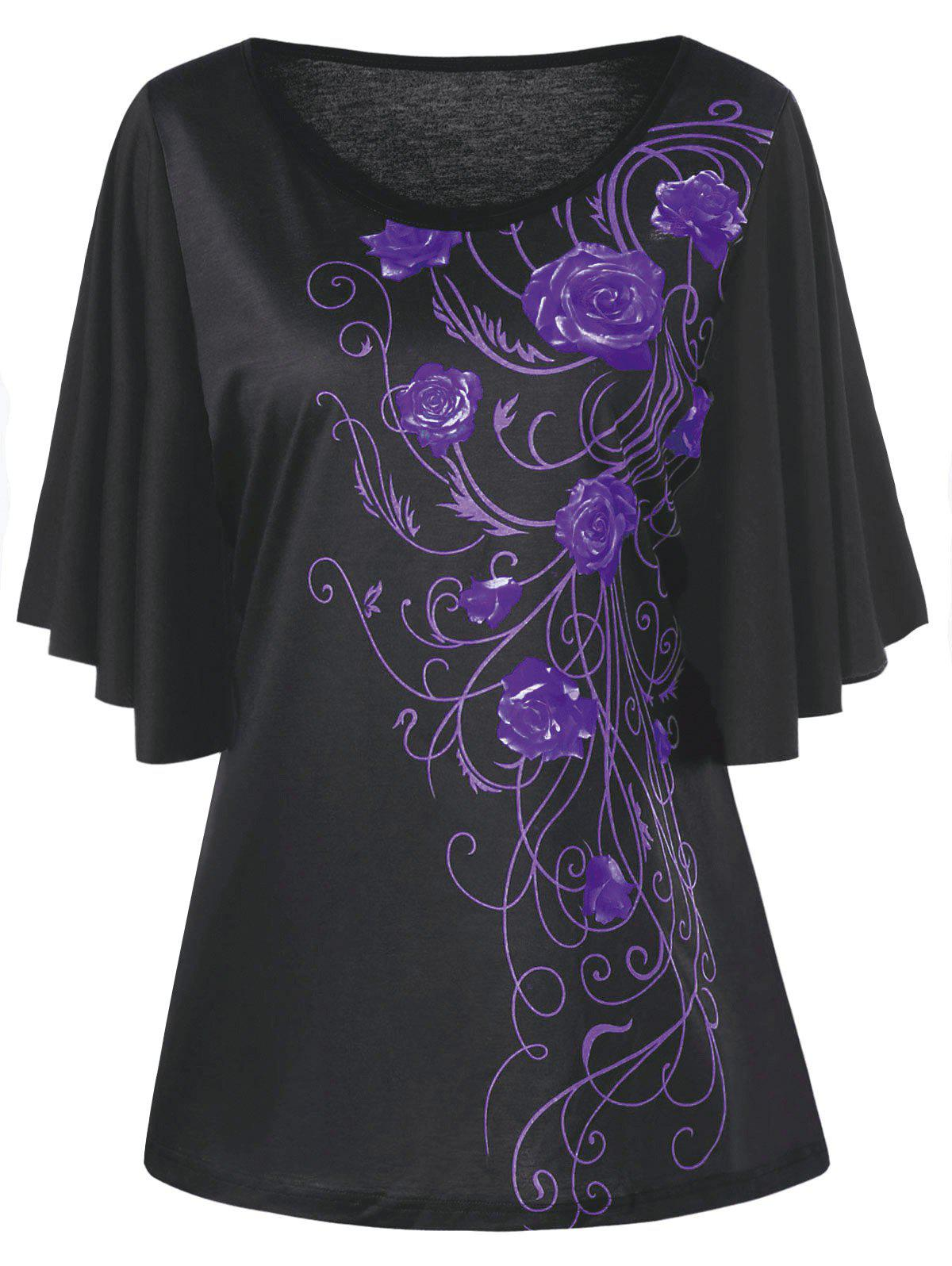 Buy Plus Size Floral Drape Sleeve T-shirt