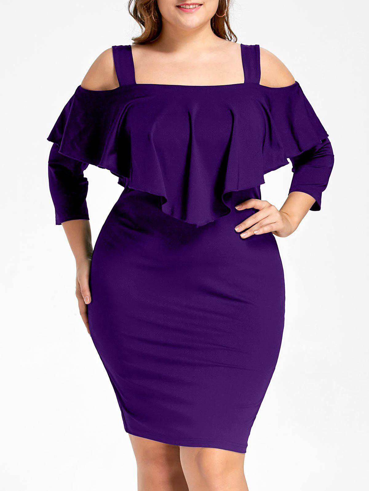 Plus Size Overlay Cold Shoulder Fitted DressWOMEN<br><br>Size: XL; Color: PURPLE; Style: Brief; Material: Polyester; Silhouette: Sheath; Dresses Length: Knee-Length; Neckline: Square Collar; Sleeve Length: 3/4 Length Sleeves; Pattern Type: Solid Color; With Belt: No; Season: Fall,Spring; Weight: 0.3700kg; Package Contents: 1 x Dress;