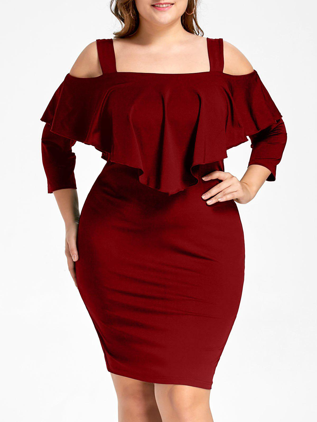 Plus Size Overlay Cold Shoulder Fitted DressWOMEN<br><br>Size: 2XL; Color: WINE RED; Style: Brief; Material: Polyester; Silhouette: Sheath; Dresses Length: Knee-Length; Neckline: Square Collar; Sleeve Length: 3/4 Length Sleeves; Pattern Type: Solid Color; With Belt: No; Season: Fall,Spring; Weight: 0.3700kg; Package Contents: 1 x Dress;