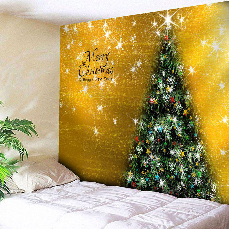 Merry Christmas Tree Printed Wall TapestryHOME<br><br>Size: W79 INCH * L71 INCH; Color: GOLDEN; Style: Festival; Theme: Christmas; Material: Nylon,Polyester; Feature: Removable,Washable; Shape/Pattern: Letter,Tree; Weight: 0.3000kg; Package Contents: 1 x Tapestry;