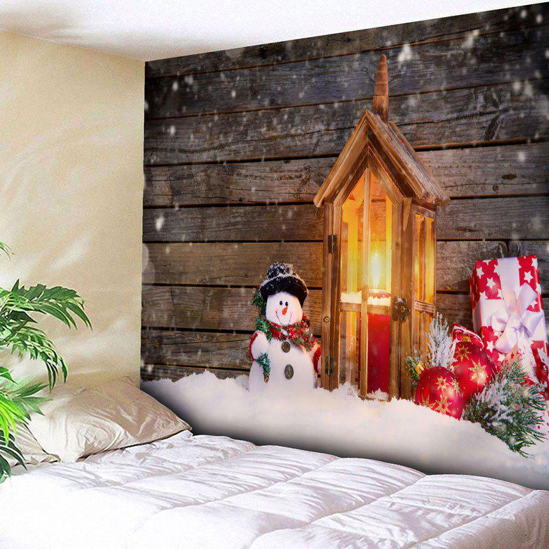Christmas Snowman Wood Candle Wall TapestryHOME<br><br>Size: W59 INCH * L51 INCH; Color: WOOD COLOR; Style: Festival; Theme: Christmas; Material: Nylon,Polyester; Feature: Removable,Washable; Shape/Pattern: Snowman; Weight: 0.1800kg; Package Contents: 1 x Tapestry;
