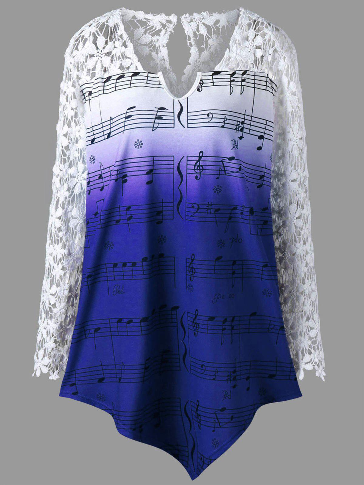 Plus Size Lace Trim Music Notes Print TopWOMEN<br><br>Size: 4XL; Color: BLUE; Material: Polyester; Shirt Length: Long; Sleeve Length: Full; Collar: V-Neck; Style: Fashion; Season: Fall,Spring,Summer; Embellishment: Lace; Pattern Type: Print; Weight: 0.2800kg; Package Contents: 1 x Top;