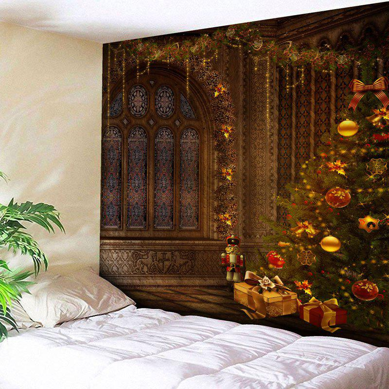 Wall Hanging Christmas Tree Print TapestryHOME<br><br>Size: W91 INCH * L71 INCH; Color: BROWN; Style: Festival; Theme: Christmas; Material: Nylon,Polyester; Feature: Removable,Washable; Shape/Pattern: Tree; Weight: 0.3750kg; Package Contents: 1 x Tapestry;