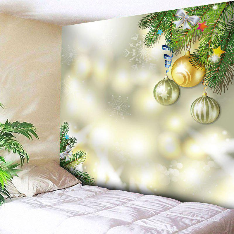 Christmas Ball Printed Bedroom Wall TapestryHOME<br><br>Size: W79 INCH * L59 INCH; Color: LIMEADE; Style: Festival; Theme: Christmas; Material: Nylon,Polyester; Feature: Removable,Washable; Shape/Pattern: Ball; Weight: 0.2700kg; Package Contents: 1 x Tapestry;