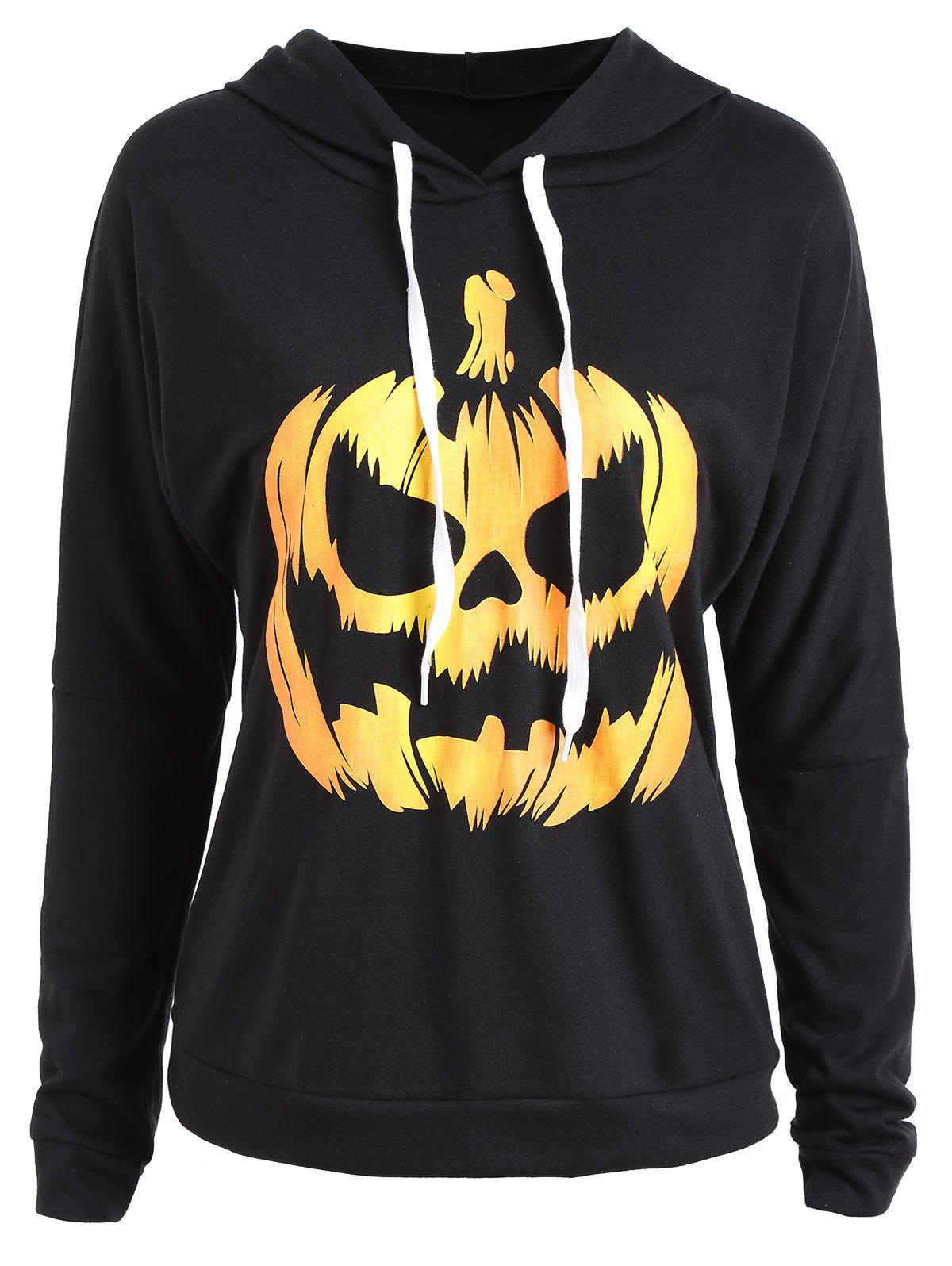 Chic Plus Size Halloween Pumpkin Drop Shoulder Hoodie