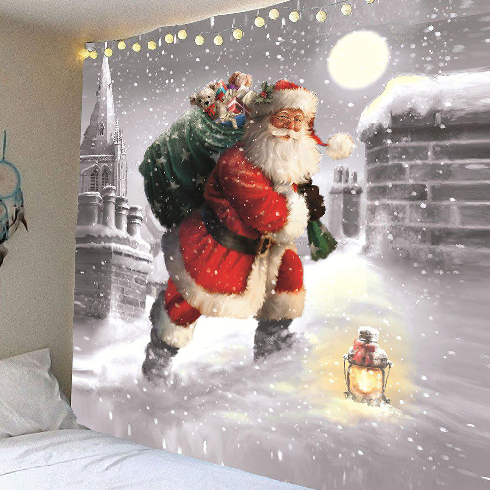 Santa Claus Walking In the Snow Patterned TapestryHOME<br><br>Size: W79 INCH * L59 INCH; Color: COLORFUL; Style: Festival; Theme: Christmas; Material: Velvet; Feature: Removable,Waterproof; Shape/Pattern: Santa Claus,Snow; Weight: 0.3100kg; Package Contents: 1 x Tapestry;