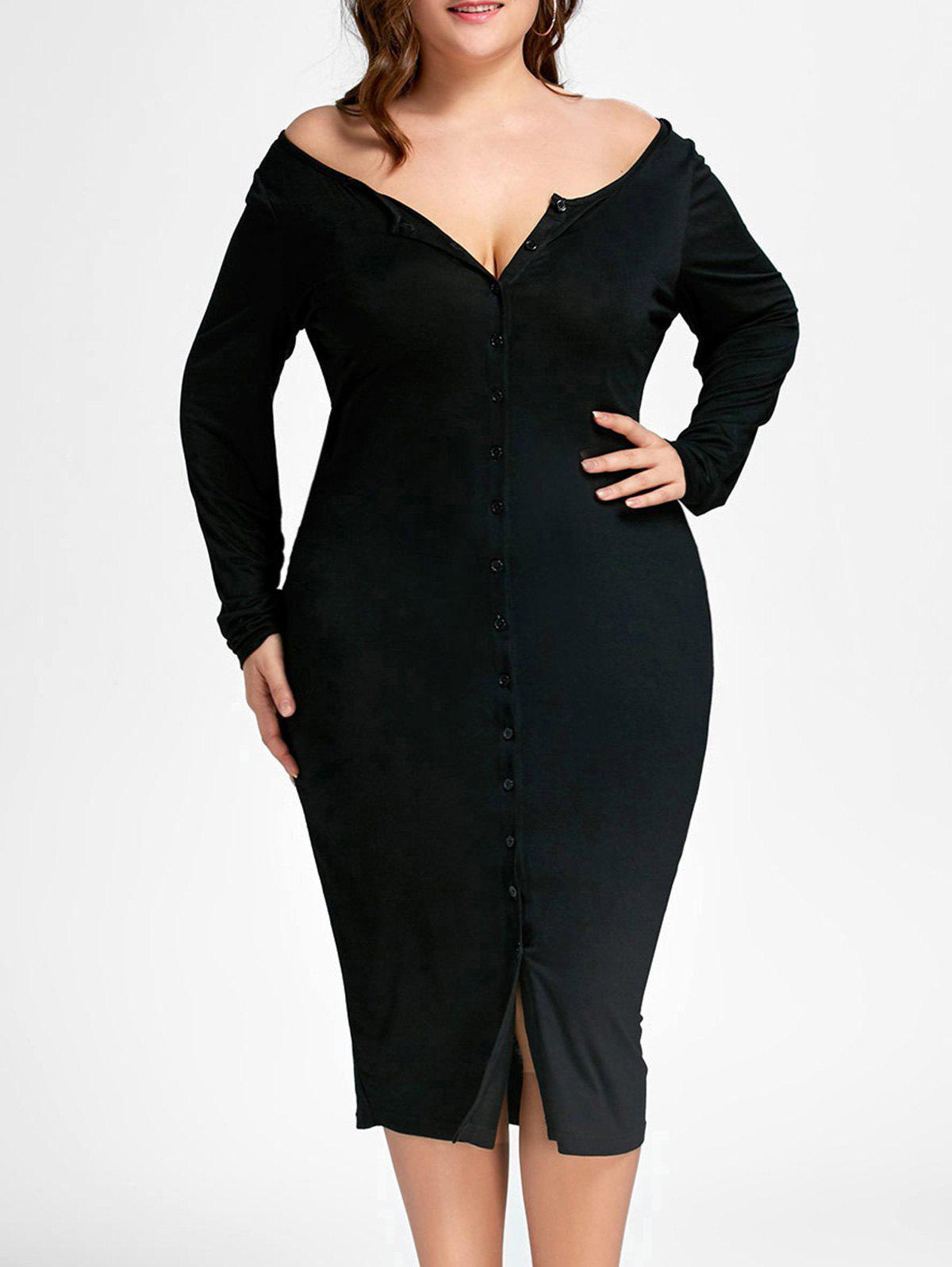 Button Up Plus Size Fitted Pencil Midi DressWOMEN<br><br>Size: XL; Color: BLACK; Style: Casual; Material: Polyester,Spandex; Silhouette: Sheath; Dresses Length: Mid-Calf; Neckline: V-Neck; Sleeve Length: Long Sleeves; Pattern Type: Solid; With Belt: No; Season: Fall,Spring; Weight: 0.3840kg; Package Contents: 1 x Dress;