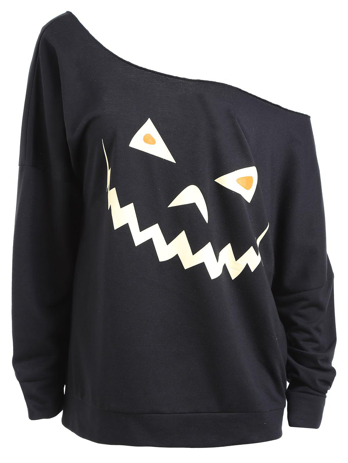 Discount Plus Size Drop Shoulder Halloween Sweatshirt