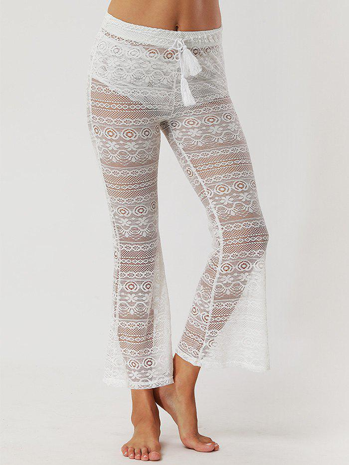 Shop Lace See Through Flare Pants