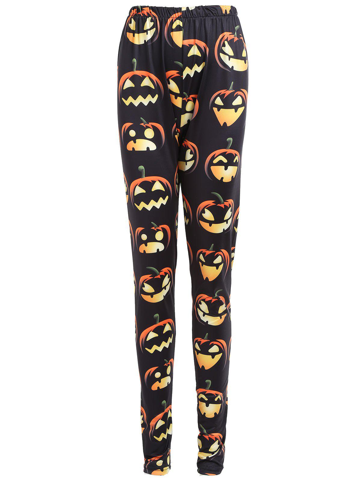 New Plus Size High Waist Halloween Pumpkin Print Leggings