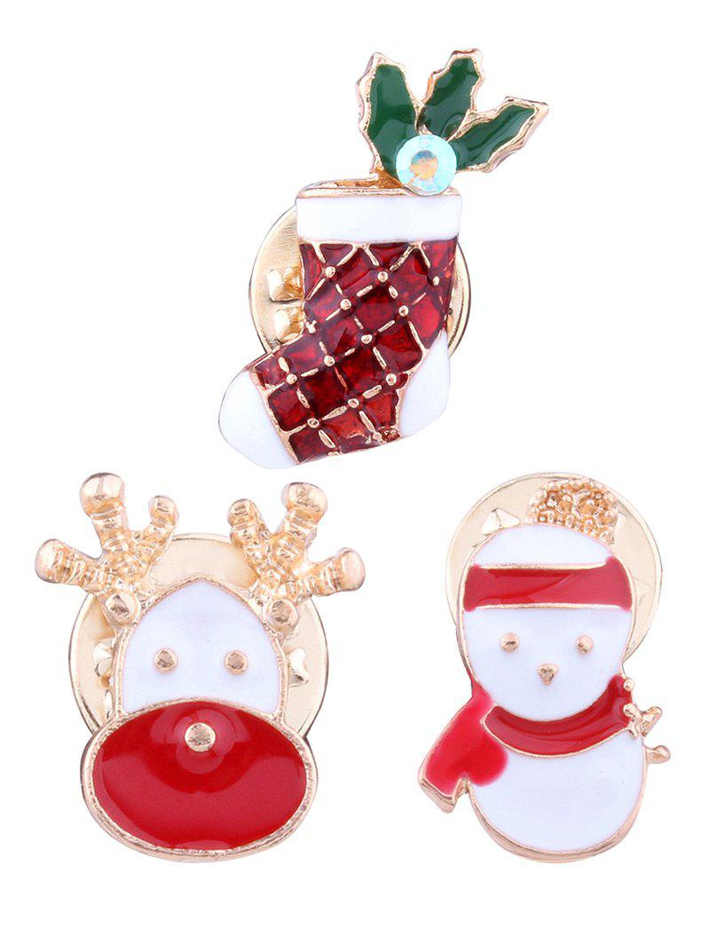 3PCS Christmas Snowman Elk Stocking BroochesJEWELRY<br><br>Color: RED; Brooch Type: Brooch; Gender: For Unisex; Style: Trendy; Shape/Pattern: Animal; Length: 1.7CM/2CM/2.3CM; Weight: 0.0400kg; Package Contents: 3 x Brooches (Piece);
