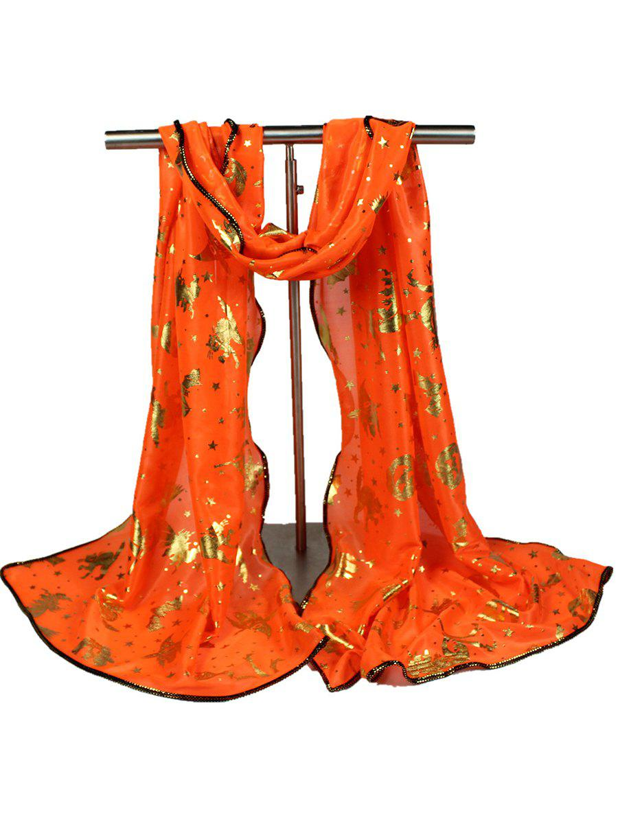 Halloween Stars Bat Pumpkin Witch Gilding ScarfACCESSORIES<br><br>Color: ORANGE; Scarf Type: Scarf; Group: Adult; Gender: For Women; Style: Fashion; Material: Polyester; Pattern Type: Print; Season: Fall,Spring,Summer,Winter; Scarf Width (CM): 43CM; Length (CM): 150CM; Weight: 0.1100kg; Package Contents: 1 x Scarf;