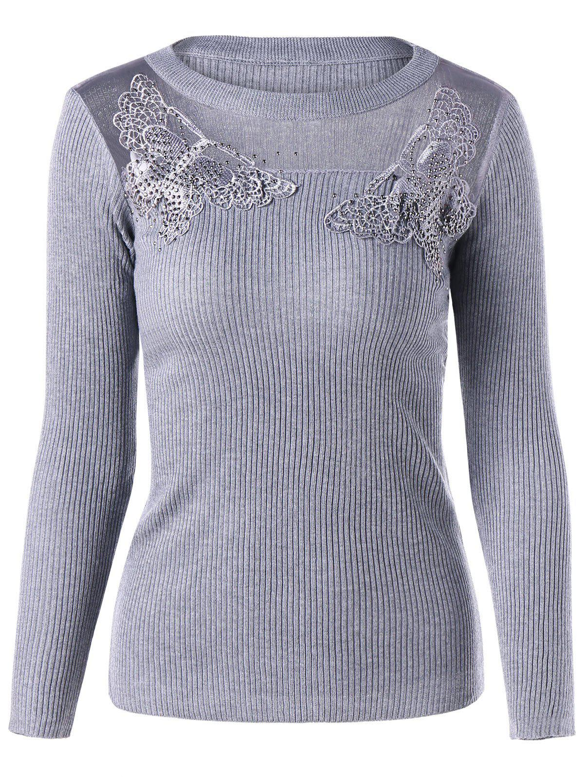 See Thru Lace Trim KnitwearWOMEN<br><br>Size: ONE SIZE; Color: GRAY; Type: Pullovers; Material: Polyester,Spandex; Sleeve Length: Full; Collar: Crew Neck; Style: Fashion; Pattern Type: Solid; Embellishment: Appliques,Lace; Season: Fall,Spring; Weight: 0.3000kg; Package Contents: 1 x Knitwear;