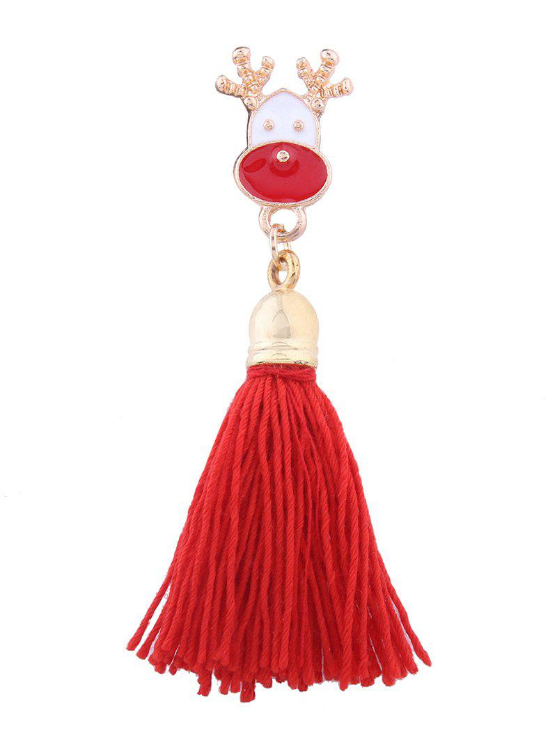 Tassel Christmas Elk Decoration BroochJEWELRY<br><br>Color: RED; Brooch Type: Brooch; Gender: For Women; Style: Trendy; Shape/Pattern: Animal; Length: 6.5CM; Weight: 0.0300kg; Package Contents: 1 x Brooch;