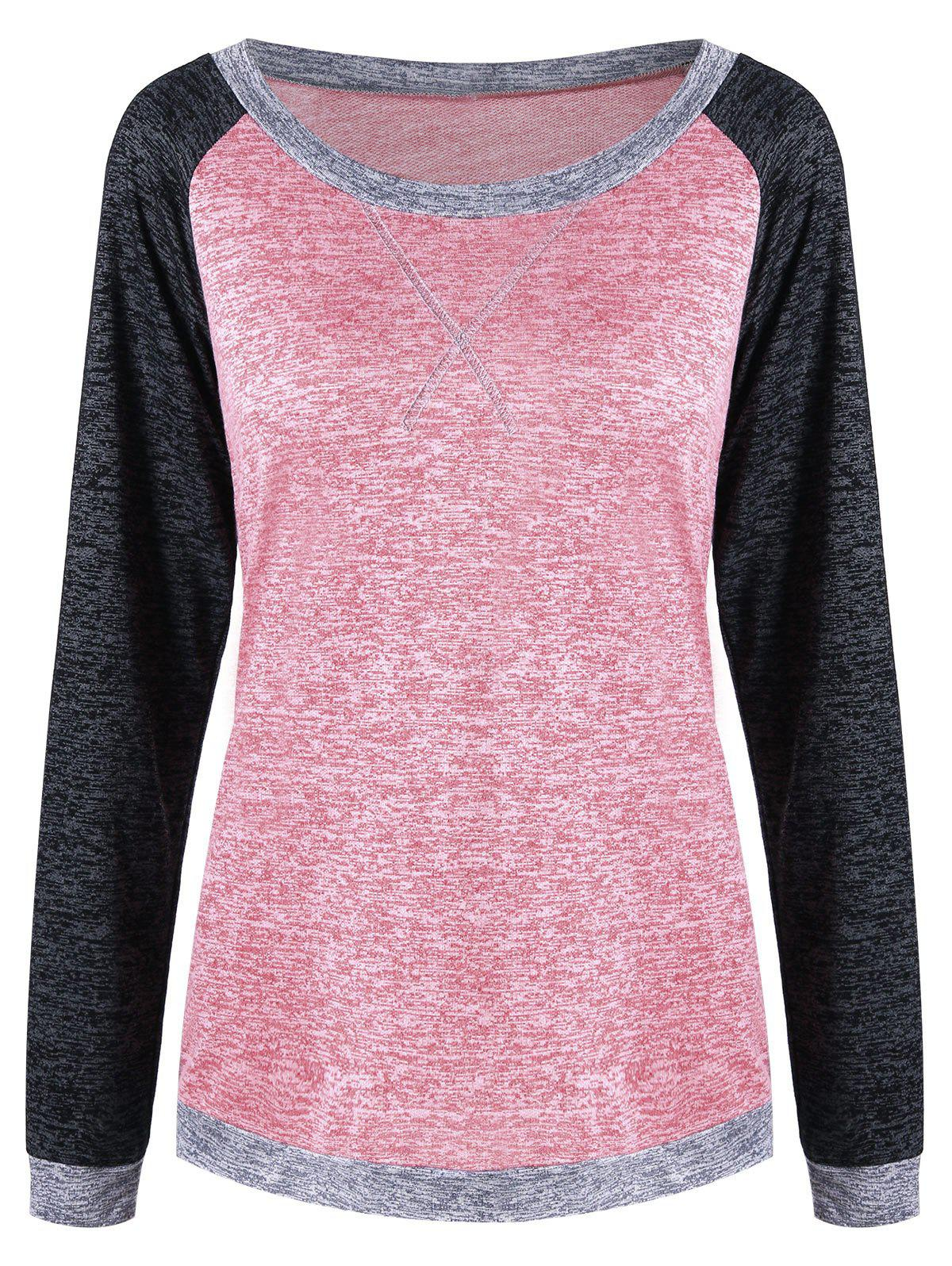Marled Raglan Sleeve T-shirtWOMEN<br><br>Size: 2XL; Color: PAPAYA; Material: Polyester,Rayon; Shirt Length: Regular; Sleeve Length: Full; Collar: Scoop Neck; Style: Casual; Pattern Type: Solid; Season: Fall,Spring; Weight: 0.2500kg; Package Contents: 1 x Top;