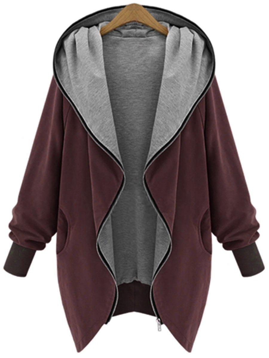 Hooded Plus Size Zip Up CoatWOMEN<br><br>Size: 5XL; Color: WINE RED; Clothes Type: Others; Material: Polyester; Type: Wide-waisted; Shirt Length: Long; Sleeve Length: Full; Collar: Hooded; Pattern Type: Solid; Style: Casual; Season: Fall,Winter; Weight: 0.4700kg; Package Contents: 1 x Coat;