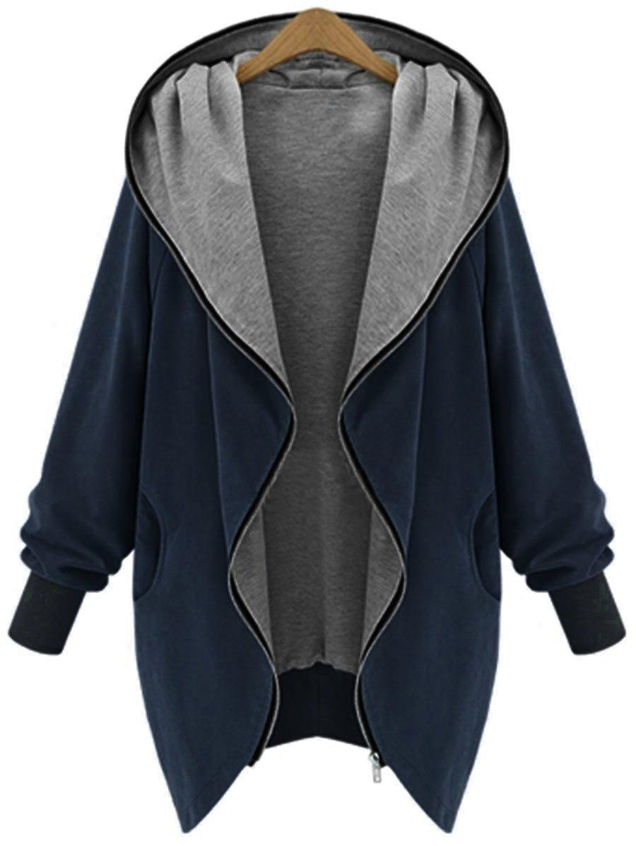 Hooded Plus Size Zip Up CoatWOMEN<br><br>Size: 2XL; Color: CADETBLUE; Clothes Type: Others; Material: Polyester; Type: Wide-waisted; Shirt Length: Long; Sleeve Length: Full; Collar: Hooded; Pattern Type: Solid; Style: Casual; Season: Fall,Winter; Weight: 0.4700kg; Package Contents: 1 x Coat;