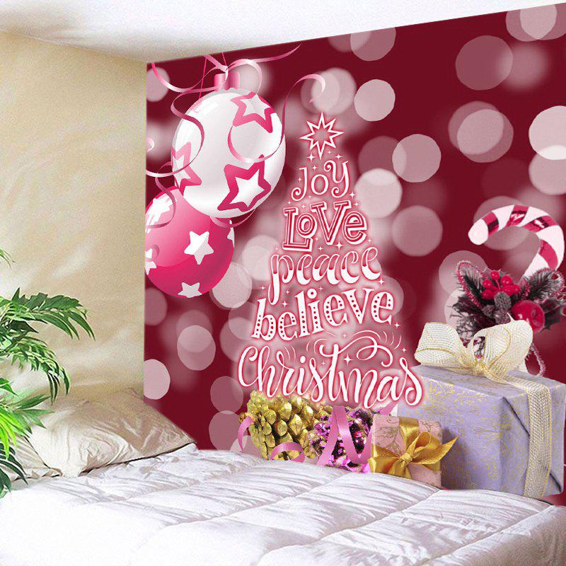 Christmas Gifts Print Tapestry Wall Hanging Art DecorationHOME<br><br>Size: W59 INCH * L59 INCH; Color: PAPAYA; Style: Festival; Theme: Christmas; Material: Polyester; Feature: Washable; Shape/Pattern: Letter; Weight: 0.3000kg; Package Contents: 1 x Tapestry;