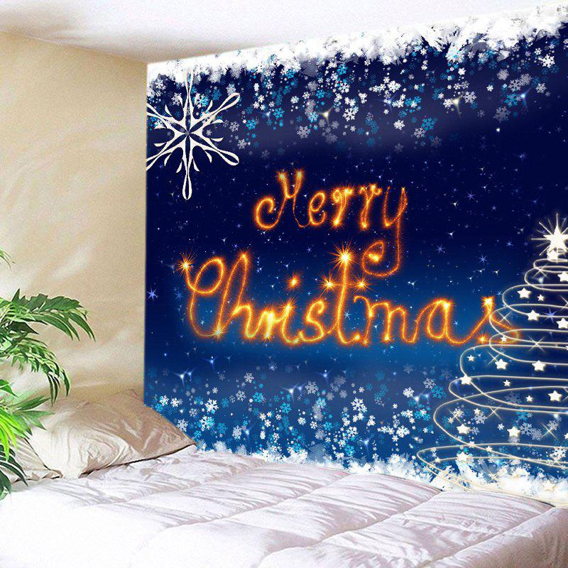 Merry Christmas Snowflake Print Tapestry Wall Hanging Art DecorationHOME<br><br>Size: W59 INCH * L59 INCH; Color: DEEP BLUE; Style: Festival; Theme: Christmas; Material: Polyester; Feature: Washable; Shape/Pattern: Letter; Weight: 0.3000kg; Package Contents: 1 x Tapestry;