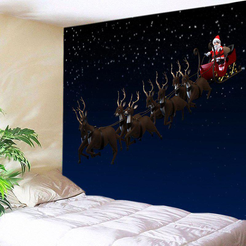 Christmas Santa Sleigh Print Tapestry Wall Hanging Art DecorationHOME<br><br>Size: W59 INCH * L51 INCH; Color: DEEP BLUE; Style: Festival; Theme: Christmas; Material: Wood; Feature: Washable; Shape/Pattern: Animal,Star; Weight: 0.3000kg; Package Contents: 1 x Tapestry;