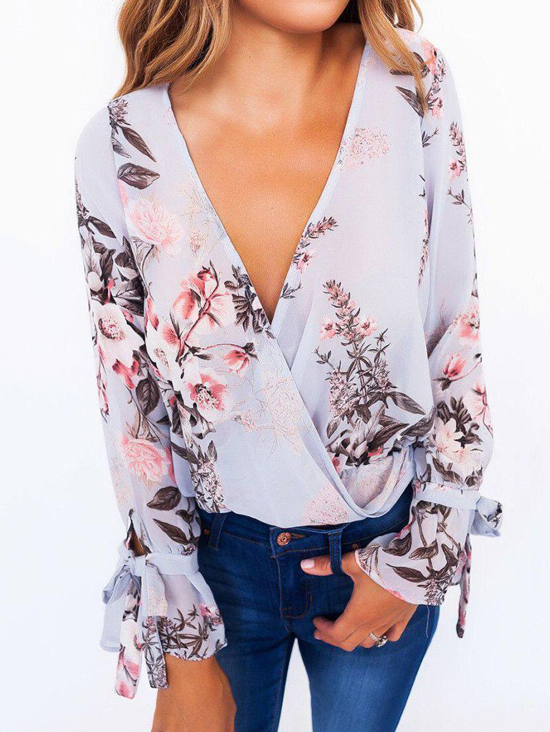 Floral Flare Sleeve Surplice BlouseWOMEN<br><br>Size: M; Color: GRAY BLUE; Occasion: Casual; Style: Fashion; Material: Polyester; Fabric Type: Chiffon; Shirt Length: Regular; Sleeve Length: Full; Sleeve Type: Flare Sleeve; Collar: Plunging Neck; Pattern Type: Floral; Season: Fall,Spring; Weight: 0.3300kg; Package Contents: 1 x Blouse;