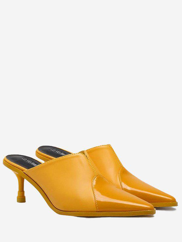 Unique Pointed Toe Faux Leather Slippers