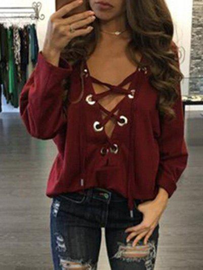 Lace Up Plunge TopWOMEN<br><br>Size: XL; Color: WINE RED; Material: Polyester; Shirt Length: Regular; Sleeve Length: Full; Collar: Plunging Neck; Style: Fashion; Pattern Type: Solid; Season: Fall,Spring; Weight: 0.3100kg; Package Contents: 1 x Top;