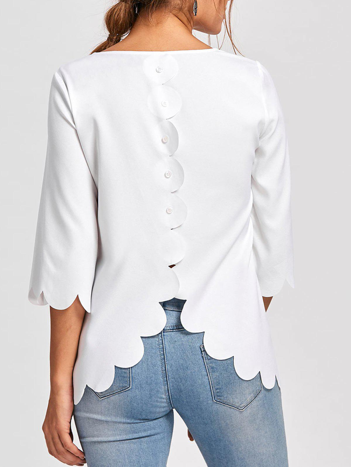 Button Embellished Scalloped Edge BlouseWOMEN<br><br>Size: XL; Color: WHITE; Occasion: Casual ,Evening,Party; Style: Fashion; Material: Polyester; Shirt Length: Long; Sleeve Length: Full; Collar: Round Neck; Pattern Type: Solid; Embellishment: Button; Season: Fall,Spring,Summer; Weight: 0.1700kg; Package Contents: 1 x Blouse;