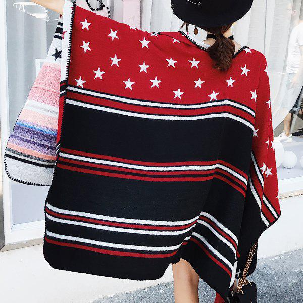 Outfits Star and Stripe Pattern Faux Woolen Pashmina
